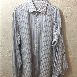 MENS FACONNABLE Long SLEEVE BUTTON DOWN SHIRT XL